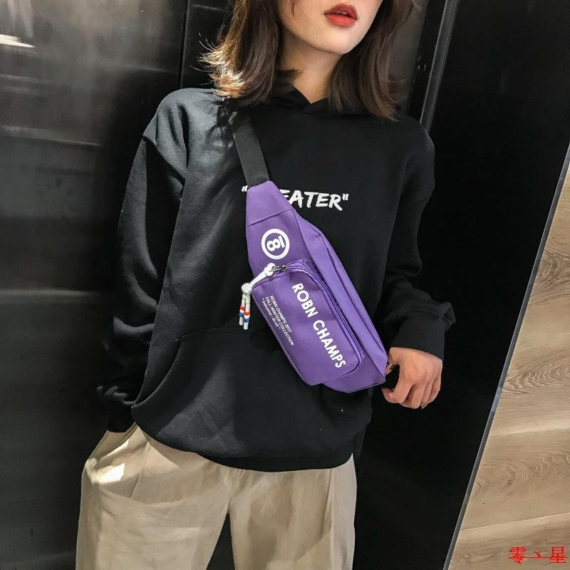 紫色帆布包 Purple canvas breast pocket紫色帆布斜挎包胸包女士运动腰包_推荐淘宝好看的紫色帆布包