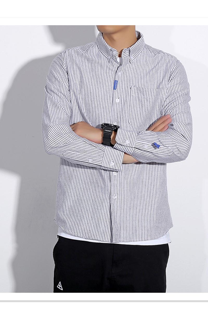 男士长袖衬衫 mdns夏季牛津纺长袖棉条纹休闲男士白衬衫 余文乐修身衬衣潮牌_推荐淘宝好看的男长袖衬衫