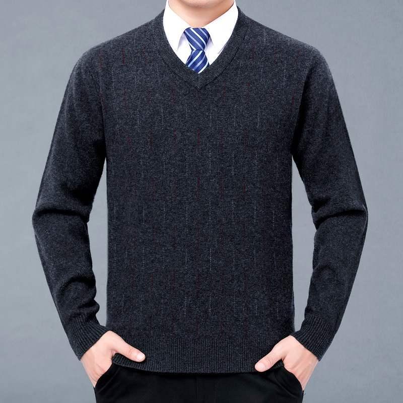 男士V领针织衫 2020冬新款男士v领圆领衫毛衣针织羊毛衫加厚款大码纯色毛衫_推荐淘宝好看的男V领针织衫