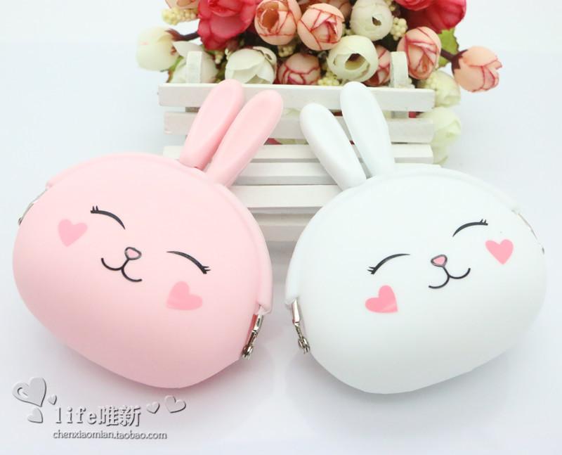 白色糖果包 可爱硅胶零钱包小兔子钥匙包女迷你日韩国糖果色创意硬币包耳机包_推荐淘宝好看的白色糖果包