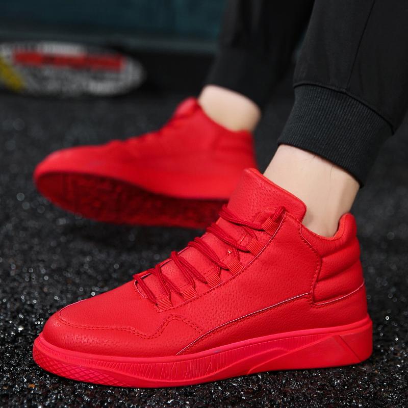 红色高帮鞋 男鞋2021秋季大红色板鞋高帮网红鞋运动韩版潮社会精神小伙休闲鞋_推荐淘宝好看的红色高帮鞋