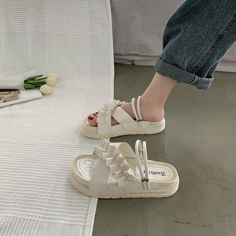 女凉鞋 松糕厚底凉鞋女仙女风2020年新款夏季学生百搭罗马网红凉拖ins潮_推荐淘宝好看的女凉鞋