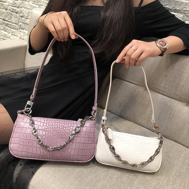 紫色链条包 紫色腋下包 法棍包2021新款潮女包迷你小包链条手提包手拎小包包_推荐淘宝好看的紫色链条包