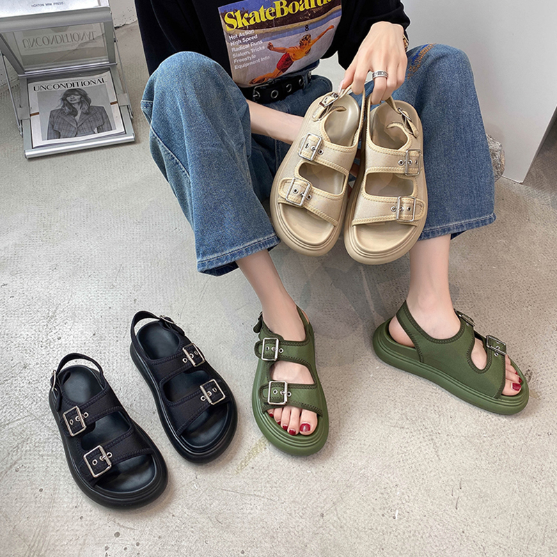 绿色罗马鞋 军绿色凉鞋2021年新款女夏季松糕厚底网红一字扣带防滑沙滩罗马鞋_推荐淘宝好看的绿色罗马鞋