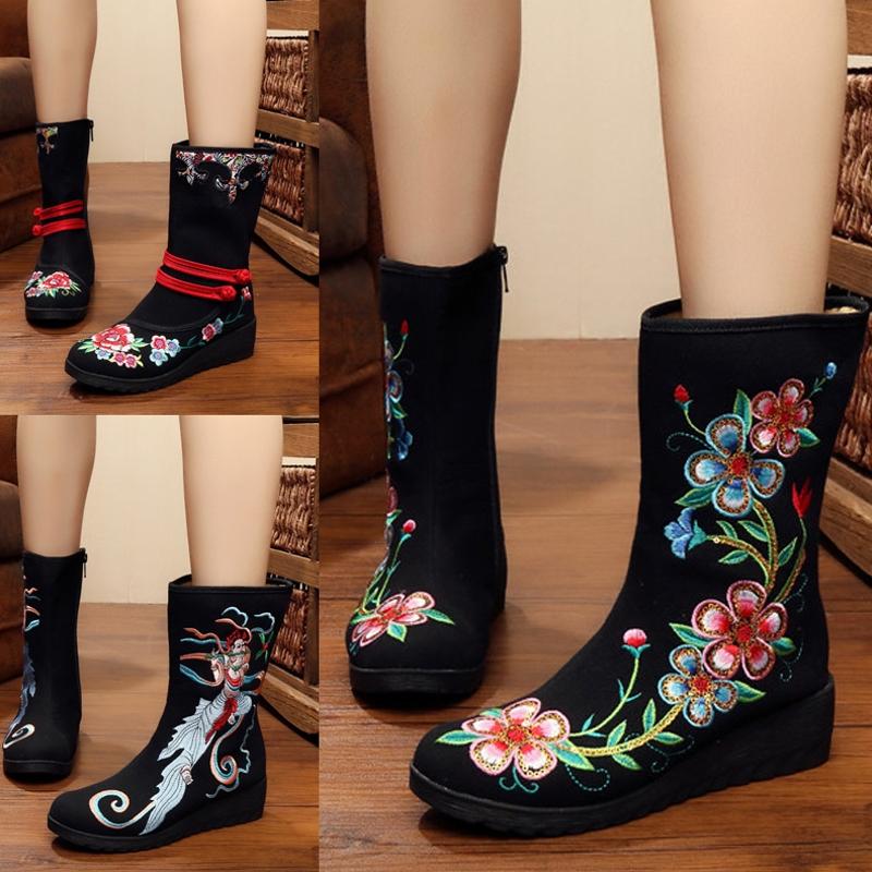 坡跟鞋 春冬新款绣花鞋春春平底坡跟短单靴老北京布鞋民族风女靴中筒靴_推荐淘宝好看的女坡跟鞋