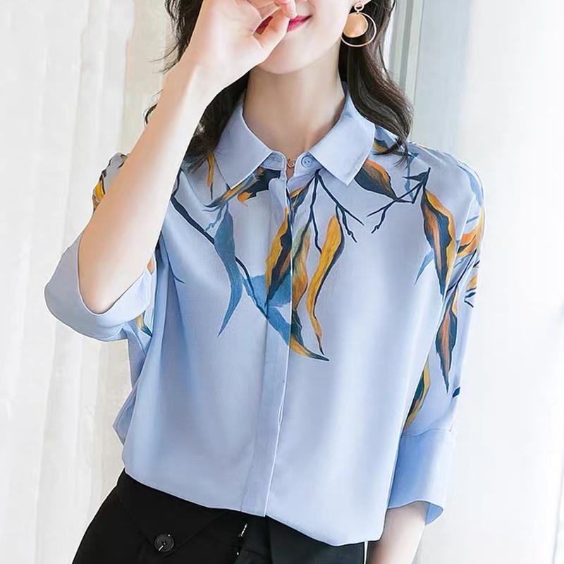 女款短袖衬衫 2020夏季新款蓝色重磅真丝短袖衬衫女时尚洋气个性印花桑蚕丝上衣_推荐淘宝好看的女短袖衬衫