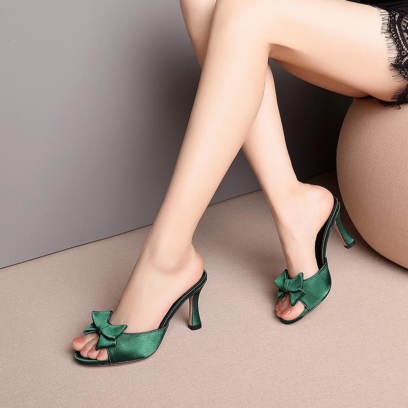 绿色鱼嘴鞋 绸缎面夏季高跟鞋2021新款绿色性感法式少女鱼嘴凉拖鞋外穿蝴蝶结_推荐淘宝好看的绿色鱼嘴鞋