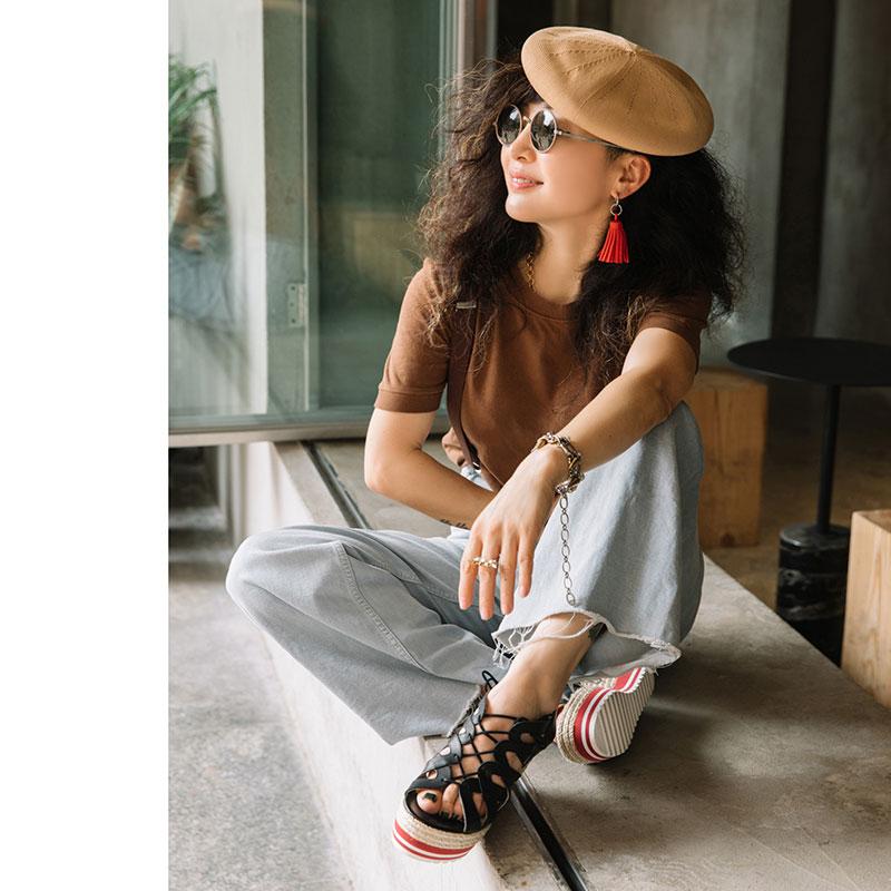 女士坡跟凉鞋 ECHIZA夏季新款2021百搭时尚高跟坡跟鱼嘴罗马凉鞋女系带气质女鞋_推荐淘宝好看的女 坡跟凉鞋