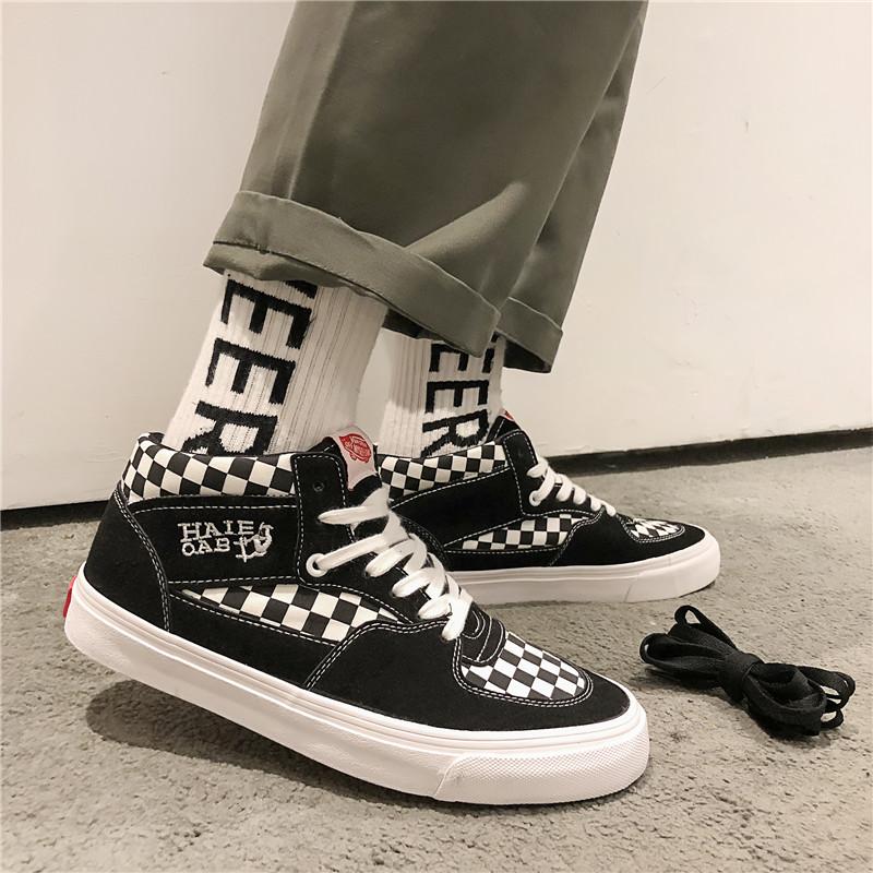 白色帆布鞋 2020春季男士新款黑白色格子高帮帆布鞋韩版潮流百搭板鞋休闲潮鞋_推荐淘宝好看的白色帆布鞋
