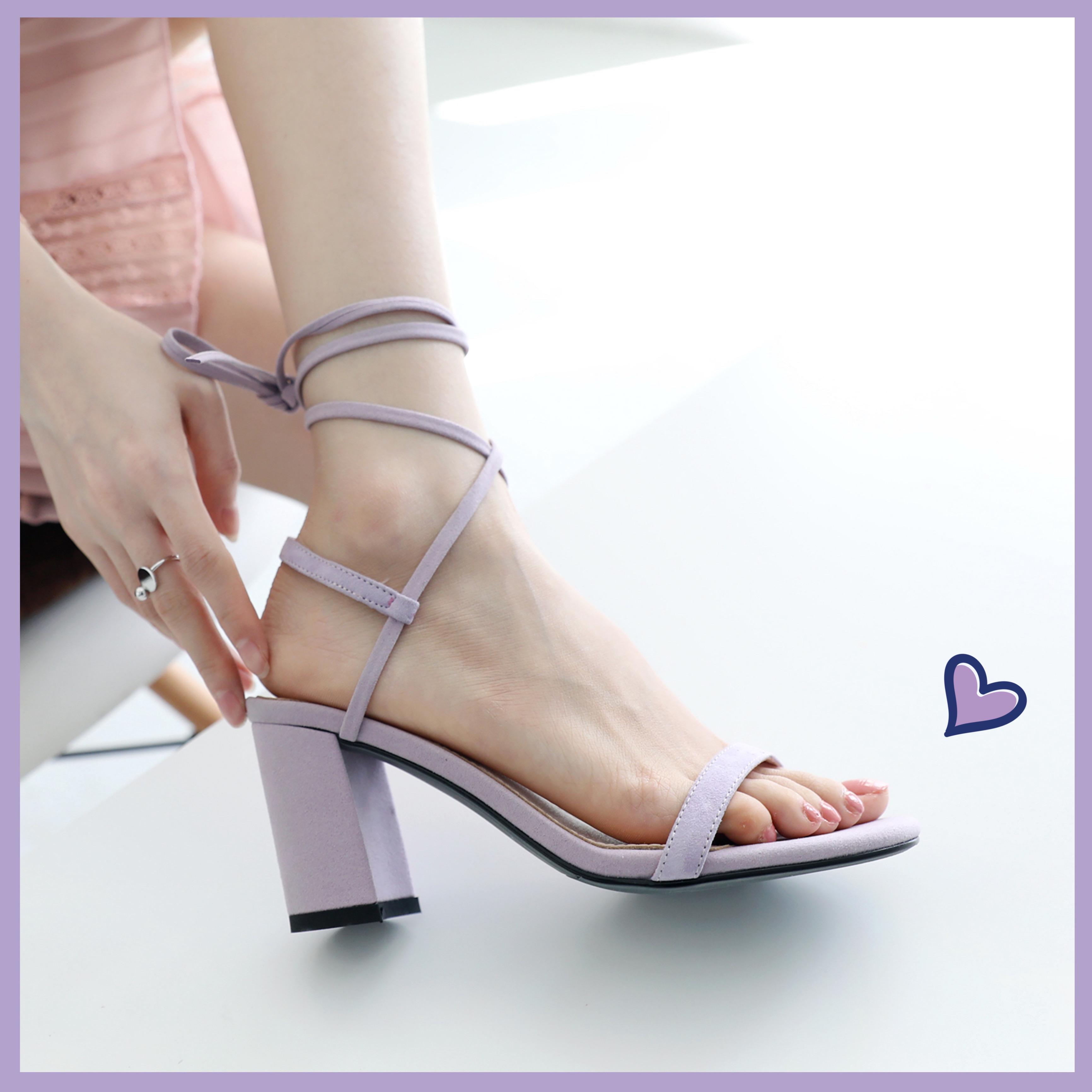 紫色凉鞋 紫色凉鞋粗跟新款凉鞋系带仙女脚环绑带配裙子穿的鞋子百搭一字带_推荐淘宝好看的紫色凉鞋