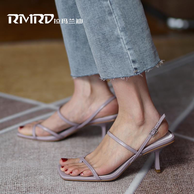 紫色罗马鞋 紫色罗马高跟凉鞋女夏2020年新款夹趾夏季女鞋法式优雅细高跟鞋女_推荐淘宝好看的紫色罗马鞋