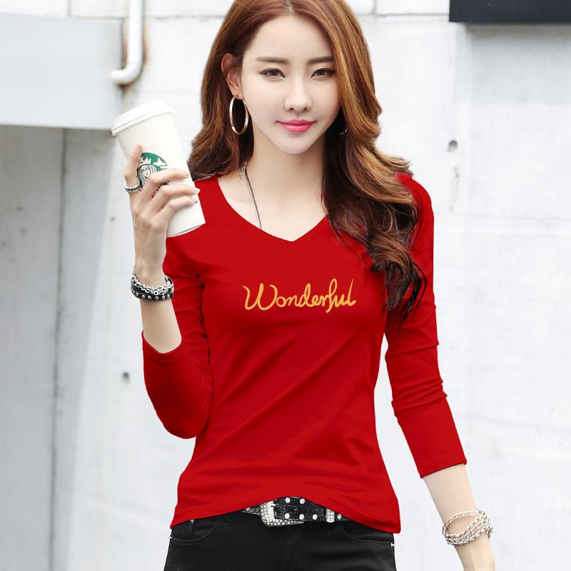 红色T恤 大码本命年红色V领上衣秋冬新款时尚内搭打底衫洋气百搭长袖t恤女_推荐淘宝好看的红色T恤