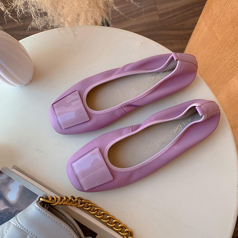 紫色豆豆鞋 MissBeta2021新款豆豆鞋女浅紫色方扣真皮软底舒适方头平底单鞋女_推荐淘宝好看的紫色豆豆鞋