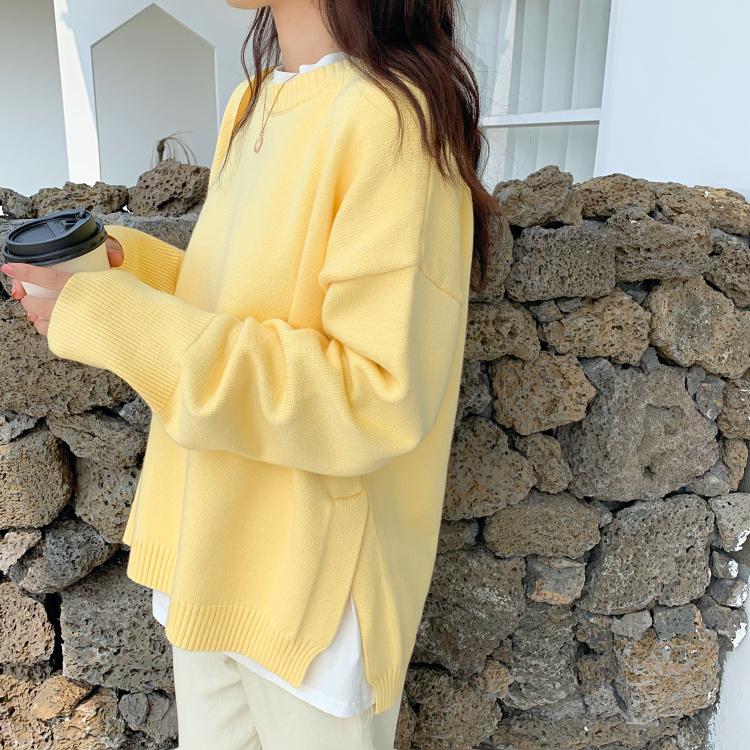 黄色针织衫 秋冬2020新款宽松慵懒chic套头小鸡黄鹅黄色毛衣网红针织衫女外搭_推荐淘宝好看的黄色针织衫