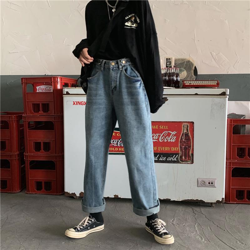 女士大码牛仔裤 大码牛仔裤女宽松直筒胖妹妹高腰显瘦阔腿裤适合胯大腿粗的裤子潮_推荐淘宝好看的女大码牛仔裤