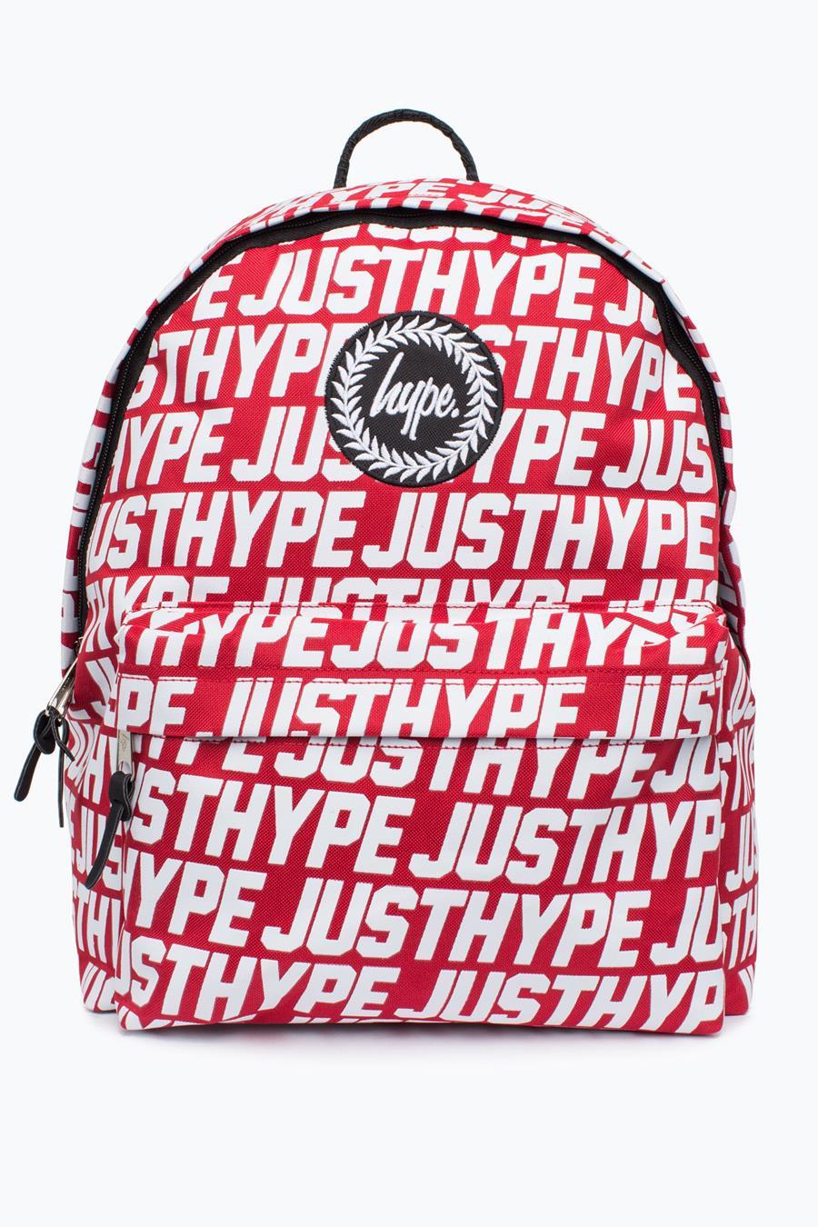 红色双肩包 JUST HYPE现货红色满印花双肩包高中学生书包男女潮牌背包小清新_推荐淘宝好看的红色双肩包