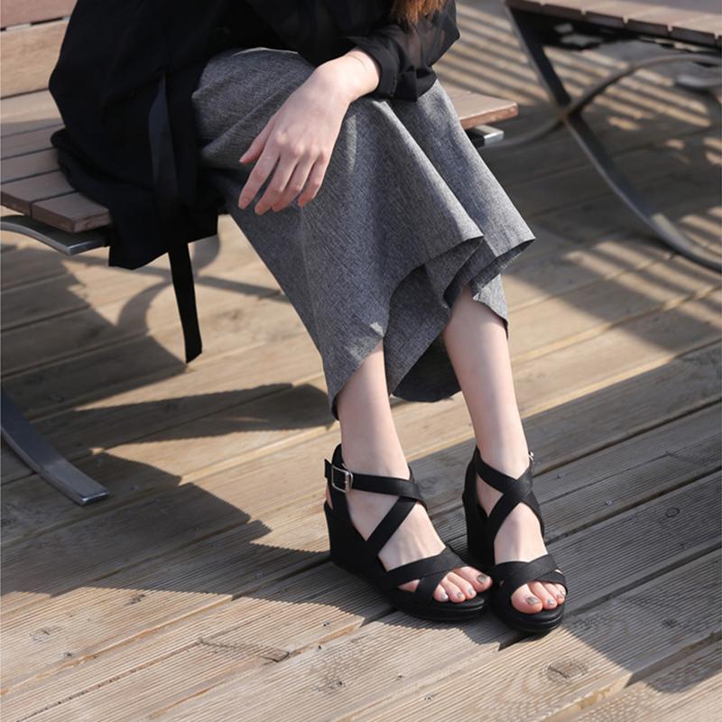 松糕厚底凉鞋 仙女坡跟凉鞋女2021夏季新款交叉带超高跟厚底防水台松糕鞋罗马鞋_推荐淘宝好看的女松糕厚底凉鞋