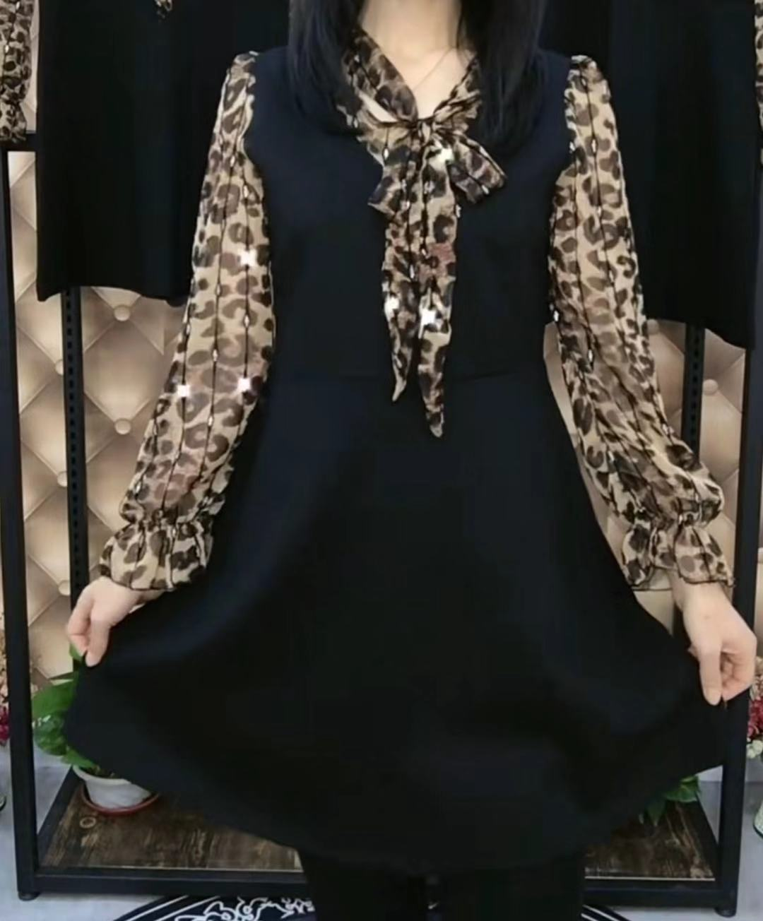 新款修身连衣裙 2019年秋冬新款韩版时尚洋气修身显瘦俩两件连衣裙女65123_推荐淘宝好看的新款修身连衣裙