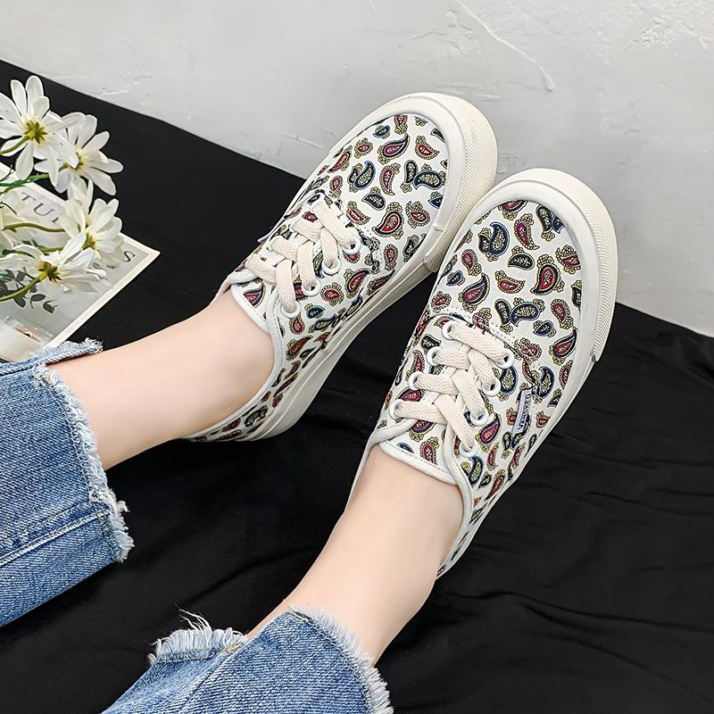 碎花帆布鞋 松糕厚底小白鞋女2021年新款夏季薄款碎花ins街拍潮鞋休闲帆布鞋_推荐淘宝好看的女碎花帆布鞋