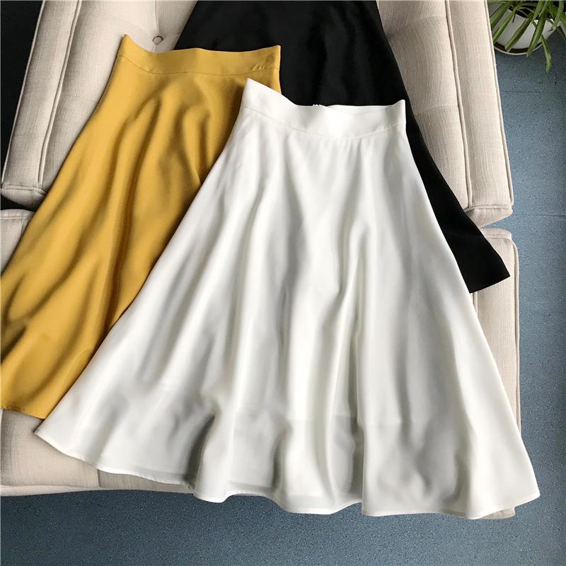 黄色半身裙 超美大裙摆 法式复古高腰伞裙a字显瘦白色半身裙黄色黑色中长款女_推荐淘宝好看的黄色半身裙
