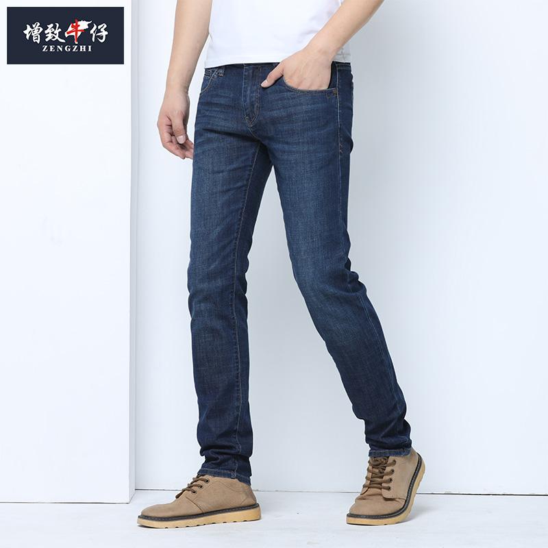淘宝男牛仔裤 增致牛仔新品弹力修身牛仔长裤男士休闲舒适深色小直筒裤薄58003_推荐淘宝好看的男牛仔裤