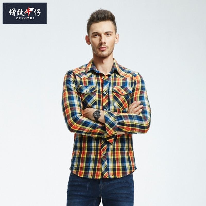 男装衬衫 【买一送一】增致牛仔男装长袖格子衬衣翻领修身全棉衬衫182012_推荐淘宝好看的男衬衫