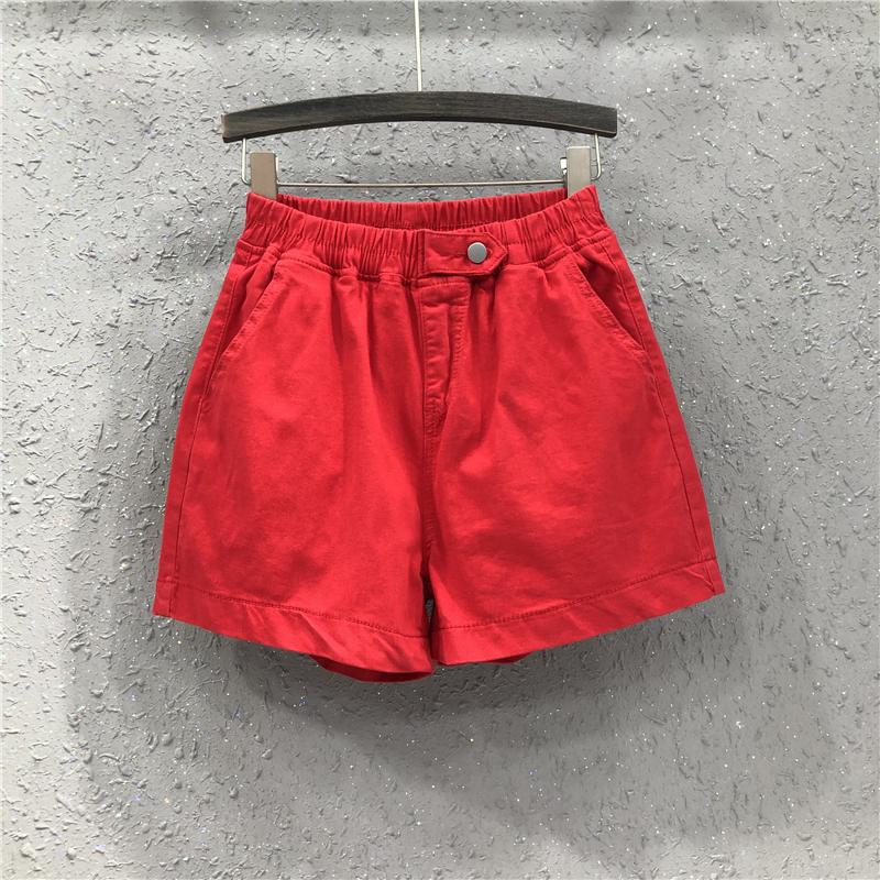 红色牛仔裤 欧洲站女装牛仔短裤2021夏季新款休闲松紧腰大红色宽松阔腿裤热裤_推荐淘宝好看的红色牛仔裤