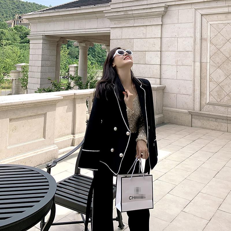 黑色小西装 黑色西装外套女 2021早秋职业名媛气质小香时尚法式珍珠西服套装_推荐淘宝好看的黑色小西装