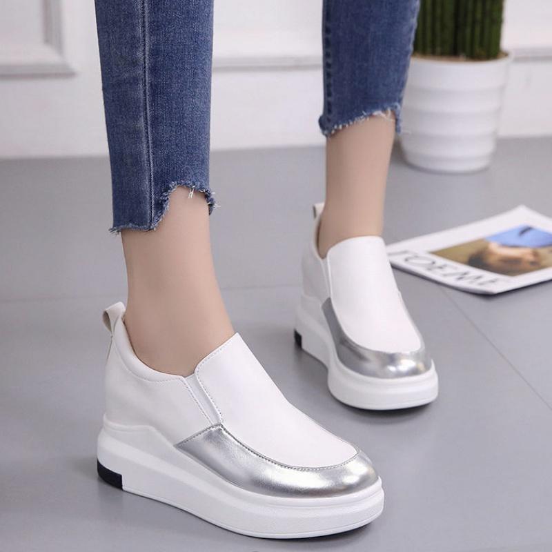 韩版松糕鞋 2020内增高新款韩版一脚蹬小白鞋女休闲鞋松糕厚底坡跟单鞋24_推荐淘宝好看的女韩版松糕鞋