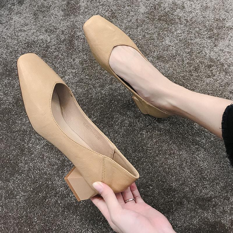单鞋 时尚方头高跟鞋粗跟中跟百搭黑色工作2020新款性感单鞋女鞋18_推荐淘宝好看的女单鞋