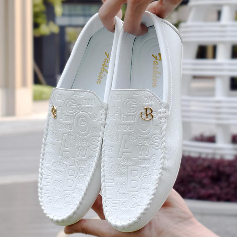 白色豆豆鞋 白色豆豆鞋男懒人鞋夏季鞋子男韩版英伦软皮男士驾车鞋休闲小皮鞋_推荐淘宝好看的白色豆豆鞋