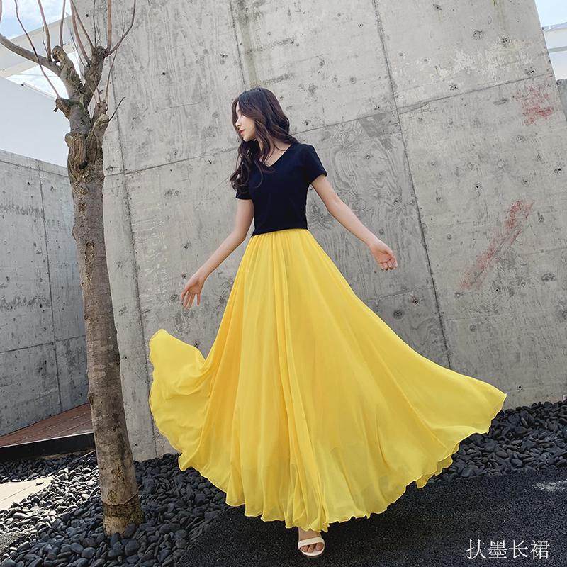 黄色半身裙 2019年纯色黄色雪纺长裙大摆裙半身裙_推荐淘宝好看的黄色半身裙