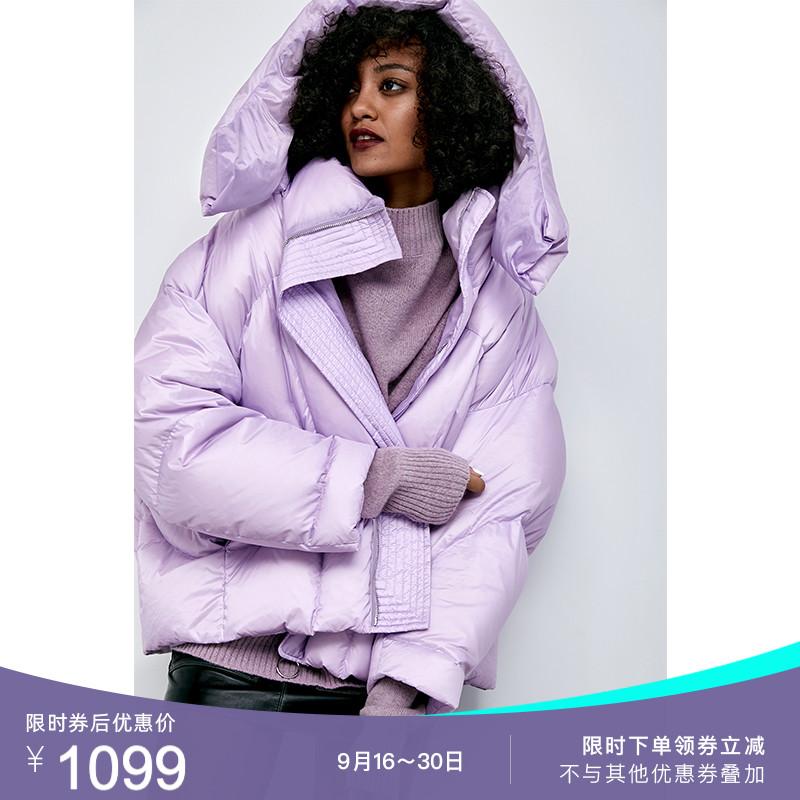 紫色羽绒服 淡紫色面包服落肩加厚秋冬宽松廓形连帽90白鸭绒羽绒服女士反季_推荐淘宝好看的紫色羽绒服