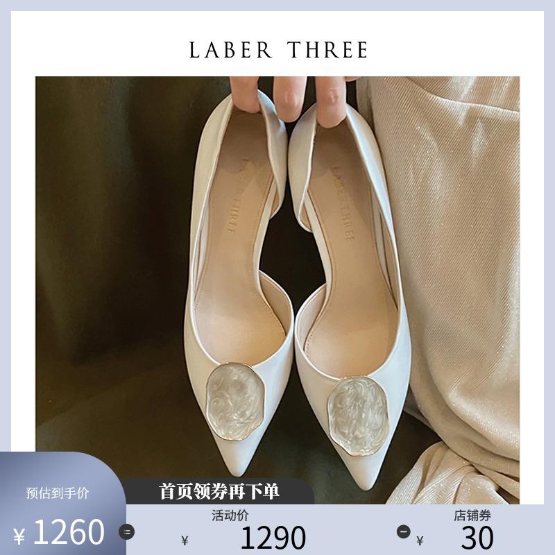 白色高跟单鞋 LaberThree小香风鞋高跟单鞋通勤温柔细跟浅口白色婚鞋新娘鞋女_推荐淘宝好看的女白色高跟单鞋