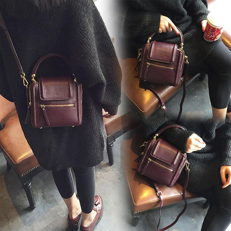 女式真皮手提包 女包包2021新款迷你小方包时尚单肩斜挎包百搭个性女包真皮手提包_推荐淘宝好看的女真皮手提包