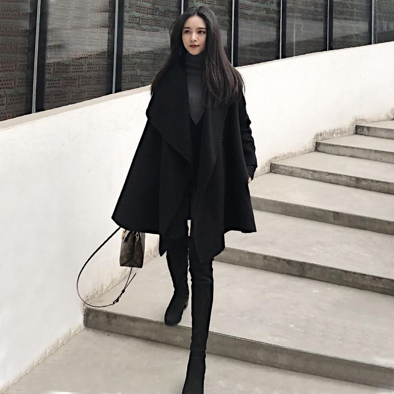 毛呢韩版外套 风衣女中长款2020秋冬新款气质时尚宽松韩版小个子英伦风毛呢外套_推荐淘宝好看的女毛呢韩版外套