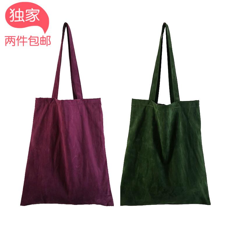 紫色手提包 悠遊记 独家自制墨绿紫色绒布包 手提单肩包 文艺环保购物包袋_推荐淘宝好看的紫色手提包