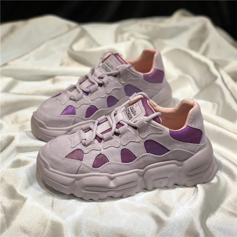 紫色运动鞋 首谷小波浪老爹鞋女ins潮紫色厚底2020春季原宿百搭松糕运动鞋女_推荐淘宝好看的紫色运动鞋
