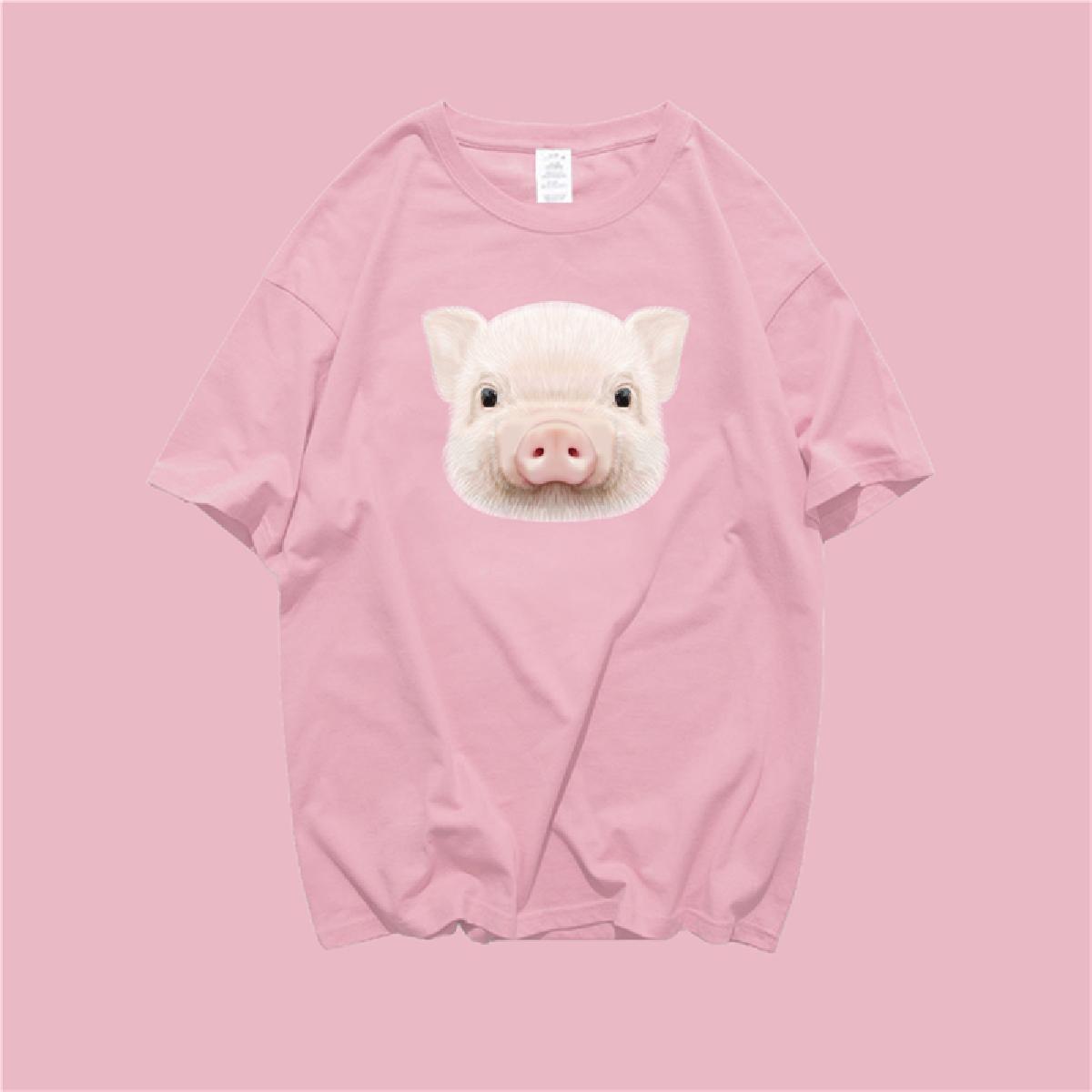 创意情侣t恤 猪猪可爱情侣短袖ins超火潮创意T恤男女纯棉百搭宽松网红克油同款_推荐淘宝好看的女创意情侣t恤