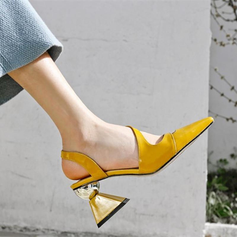 黄色高跟鞋 礼服凉鞋女夏2021新款高跟鞋尖头异形跟潮仙女欧洲站头层牛皮黄色_推荐淘宝好看的黄色高跟鞋