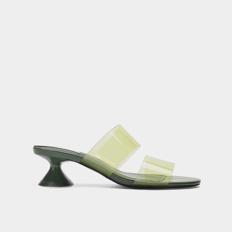 绿色凉鞋 亏本清仓ZA女鞋绿色高跟穆勒中跟凉拖鞋粗跟透明一字带凉鞋女夏_推荐淘宝好看的绿色凉鞋