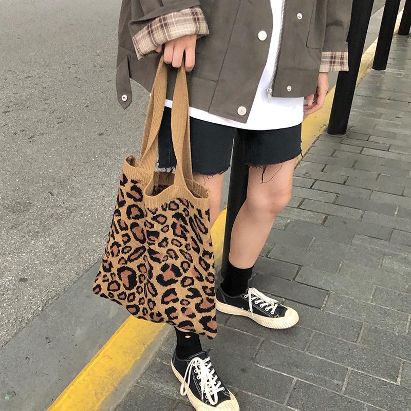复古包 韩范豹纹图案针织手提包百搭毛线休闲复古斜挎包可爱时尚女手提袋_推荐淘宝好看的女复古包