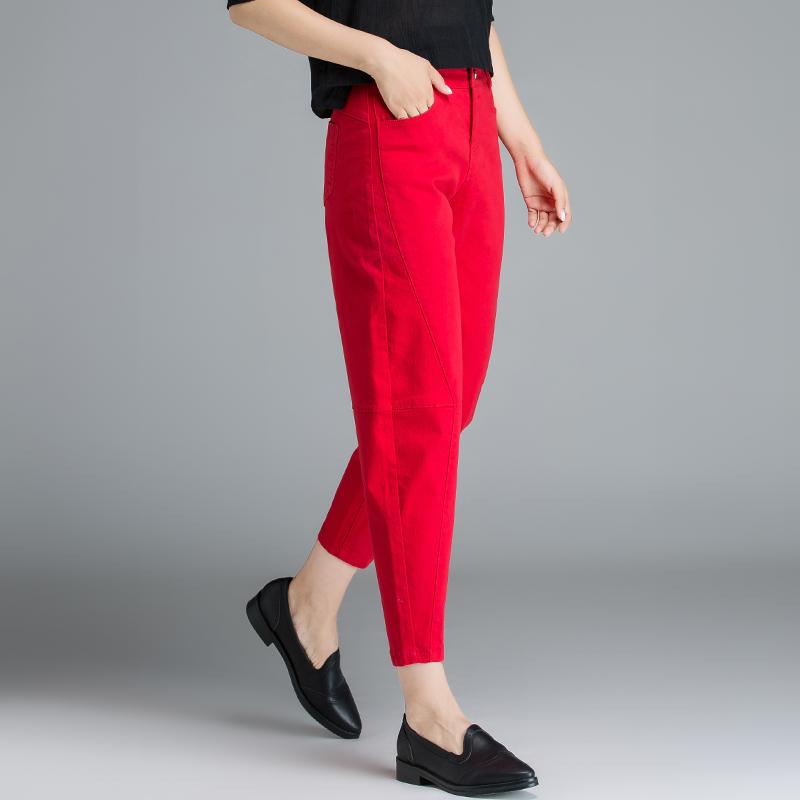 红色牛仔裤 女士红色裤子牛仔裤女宽松秋冬哈伦裤八分裤大码九分裤胖mm萝卜裤_推荐淘宝好看的红色牛仔裤