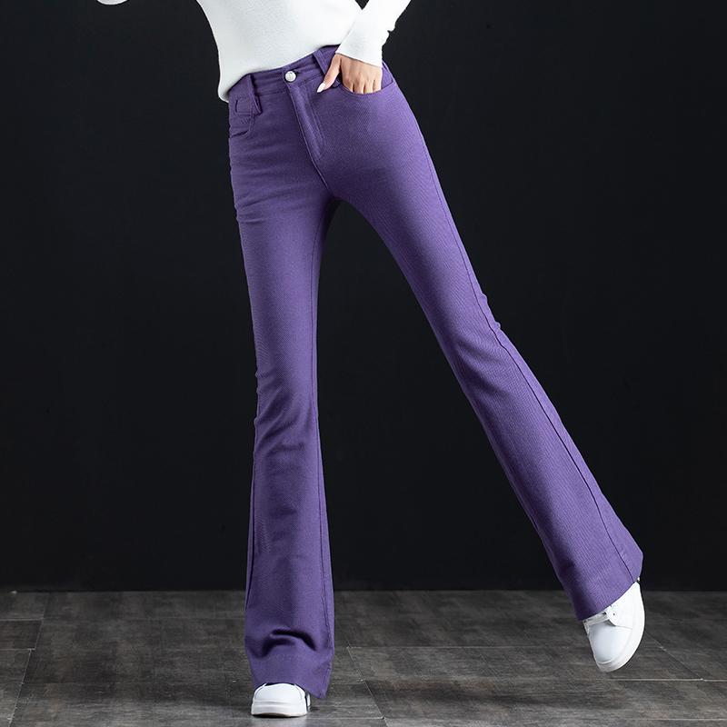 紫色牛仔裤 紫色牛仔裤女微喇裤女裤秋冬裤子高腰女式长裤休闲直筒弹力喇叭裤_推荐淘宝好看的紫色牛仔裤