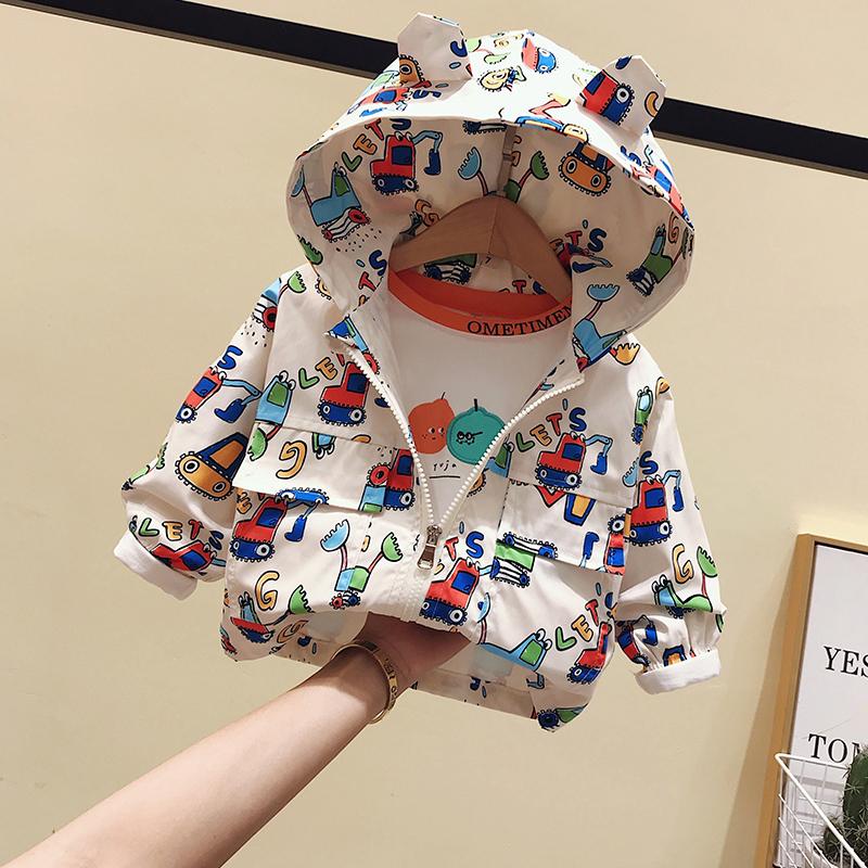 韩版男风衣 男女童卡通外套春秋2020婴儿童洋气风衣小童连帽上衣宝宝韩版夹克_推荐淘宝好看的韩版男风衣