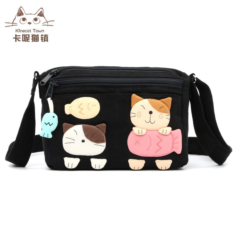 休闲帆布包 日本设计kine猫 可爱食鱼猫卡通帆布小斜挎包女士休闲旅行逛街包_推荐淘宝好看的女休闲帆布包