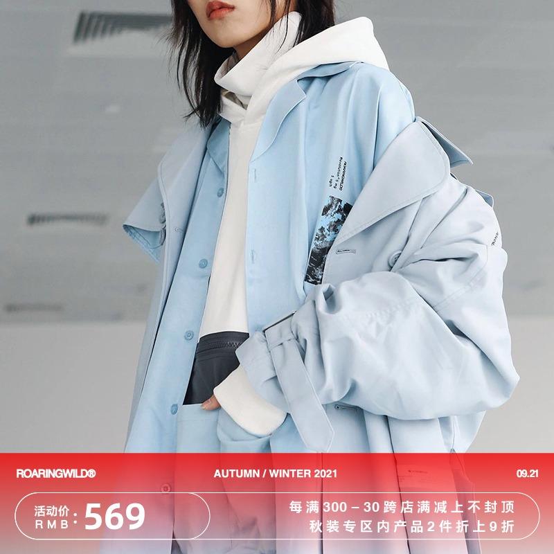 双排扣风衣 ROARINGWILD 18AW WIND-PROOF COAT 水蓝色宽幅双排扣风衣_推荐淘宝好看的双排扣风衣