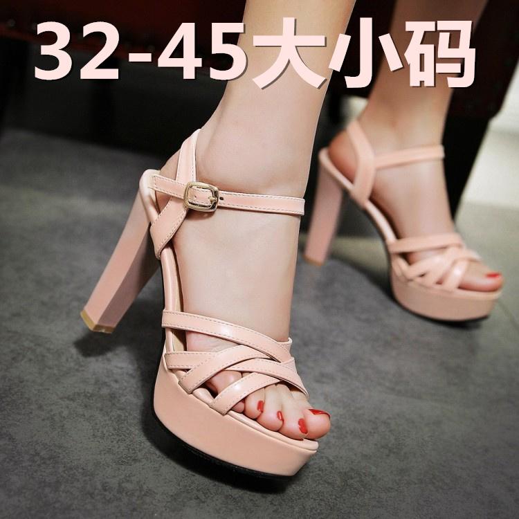 粉红色鱼嘴鞋 夏3233小码皮带扣高跟婚鞋粉红色鱼嘴凉鞋黑色4041424345大码粗跟_推荐淘宝好看的粉红色鱼嘴鞋