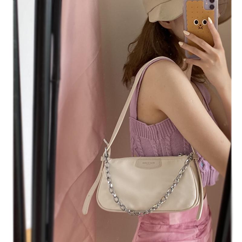 紫色链条包 尼龙腋下包女小众设计包包2020新款潮网红法棍包百搭链条斜挎包_推荐淘宝好看的紫色链条包
