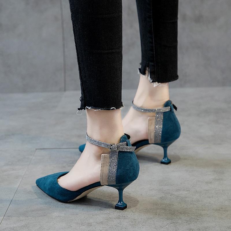 罗马鞋 H4高跟鞋女细跟新款韩版尖头百搭包头一字扣罗马中空猫跟单鞋女7_推荐淘宝好看的女罗马鞋